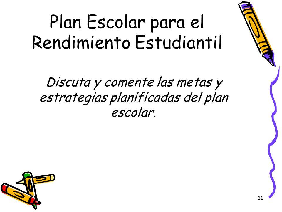 11 Plan Escolar para el Rendimiento Estudiantil Discuta y comente las metas y estrategias planificadas del plan escolar.