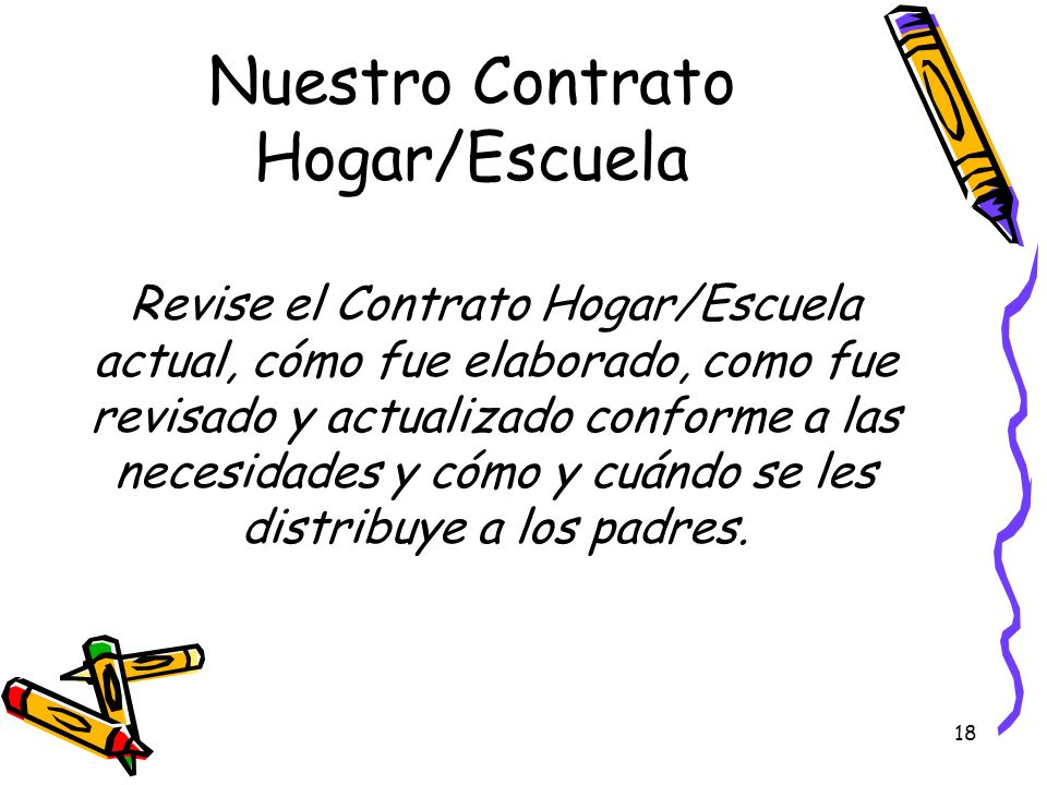 18 Nuestro Contrato Hogar/Escuela Revise el Contrato Hogar/Escuela actual, cómo fue elaborado, como fue revisado y actualizado conforme a las necesida