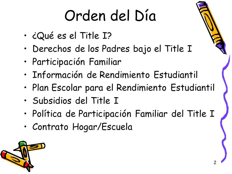 2 Orden del Día ¿Qué es el Title I? Derechos de los Padres bajo el Title I Participación Familiar Información de Rendimiento Estudiantil Plan Escolar