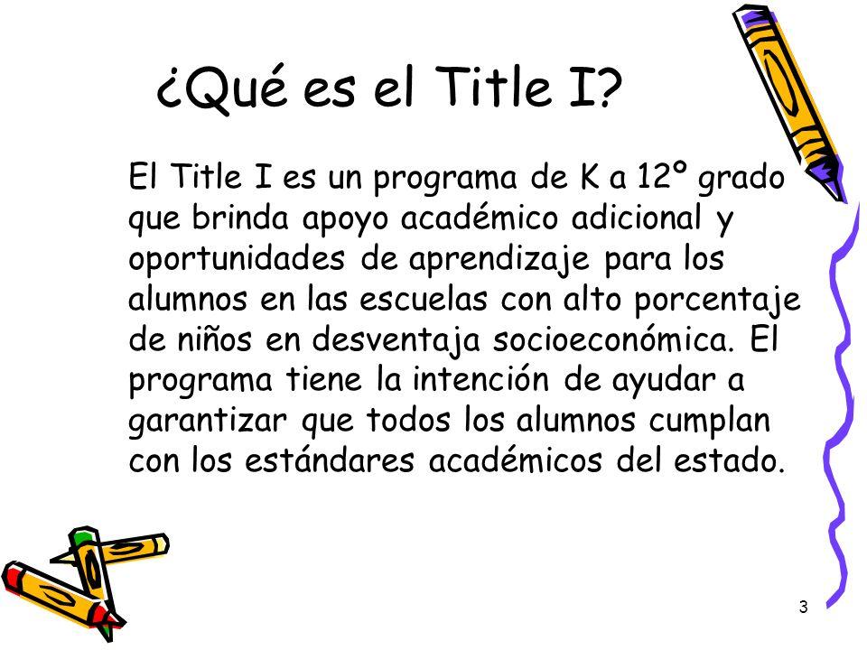 3 ¿Qué es el Title I? El Title I es un programa de K a 12º grado que brinda apoyo académico adicional y oportunidades de aprendizaje para los alumnos