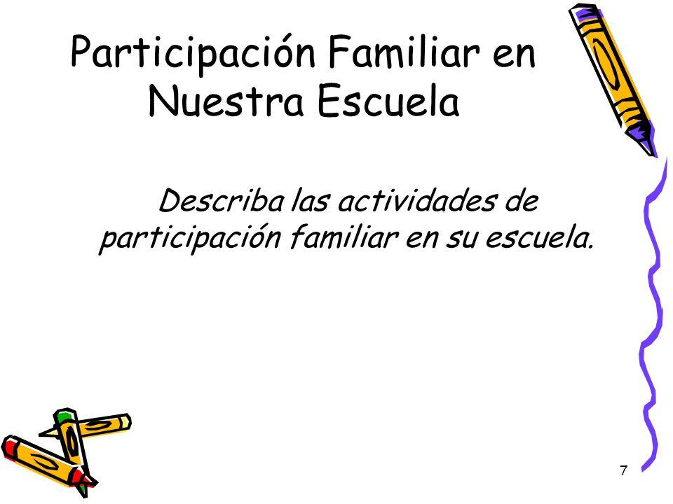 7 Participación Familiar en Nuestra Escuela Describa las actividades de participación familiar en su escuela.