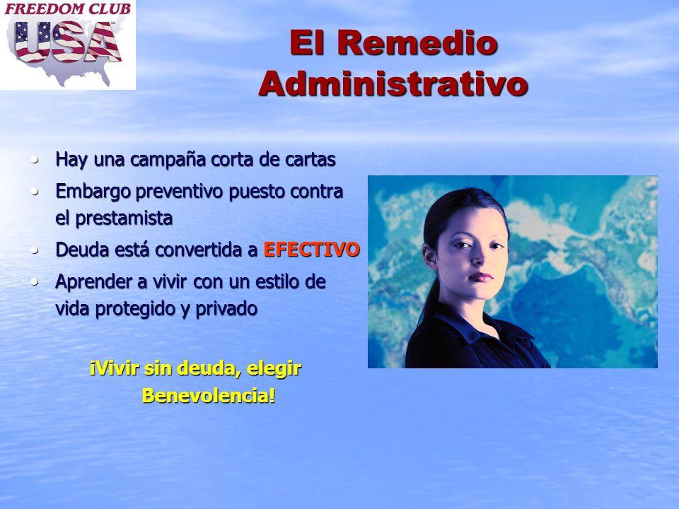 El Remedio Administrativo Hay una campaña corta de cartasHay una campaña corta de cartas Embargo preventivo puesto contra el prestamistaEmbargo preven