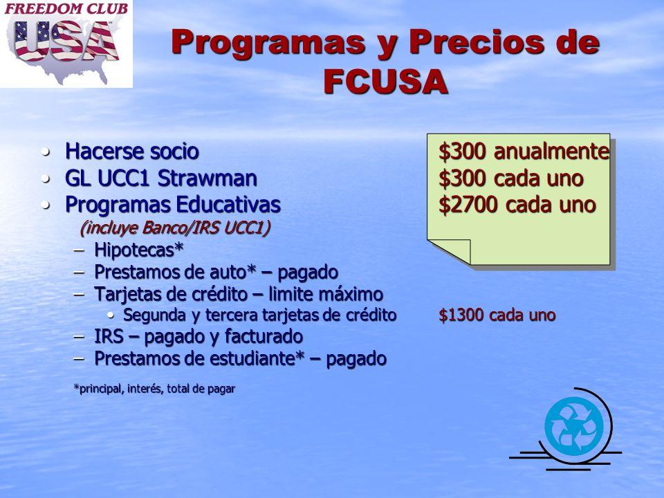 Programas y Precios de FCUSA Hacerse socio$300 anualmenteHacerse socio$300 anualmente GL UCC1 Strawman$300 cada unoGL UCC1 Strawman$300 cada uno Progr