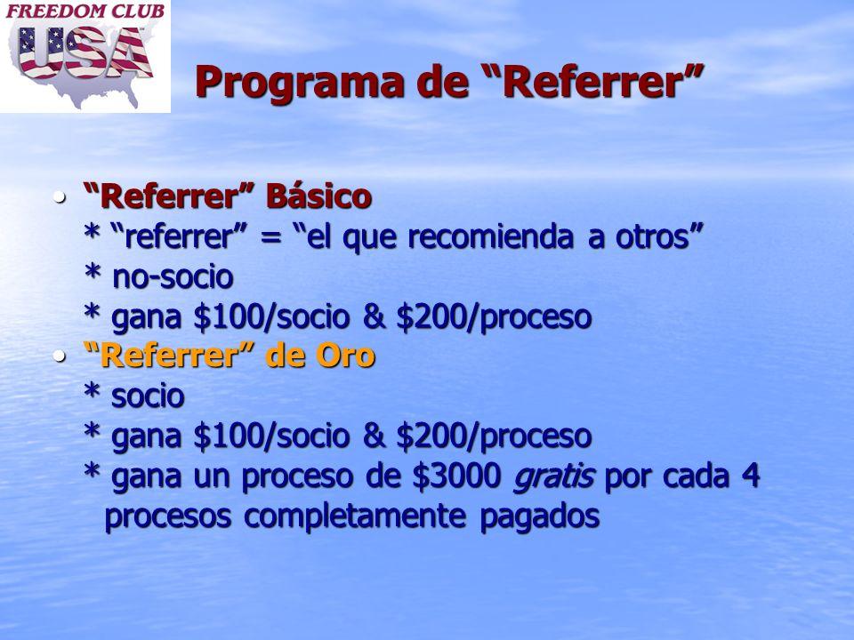 Programa de Referrer Referrer BásicoReferrer Básico * referrer = el que recomienda a otros * referrer = el que recomienda a otros * no-socio * gana $1