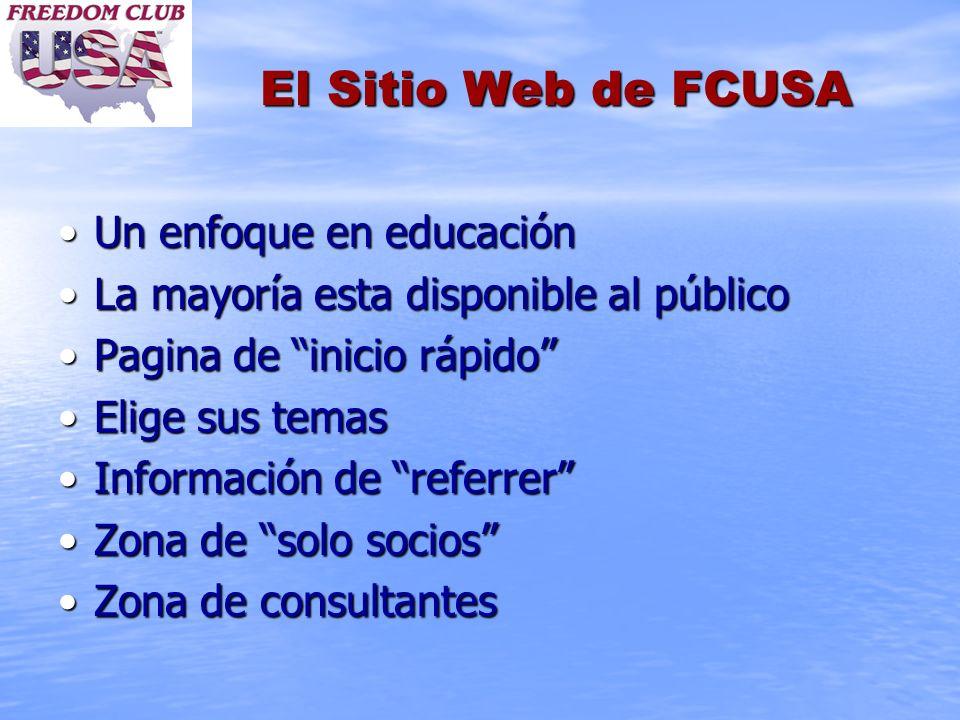 El Sitio Web de FCUSA Un enfoque en educaciónUn enfoque en educación La mayoría esta disponible al públicoLa mayoría esta disponible al público Pagina