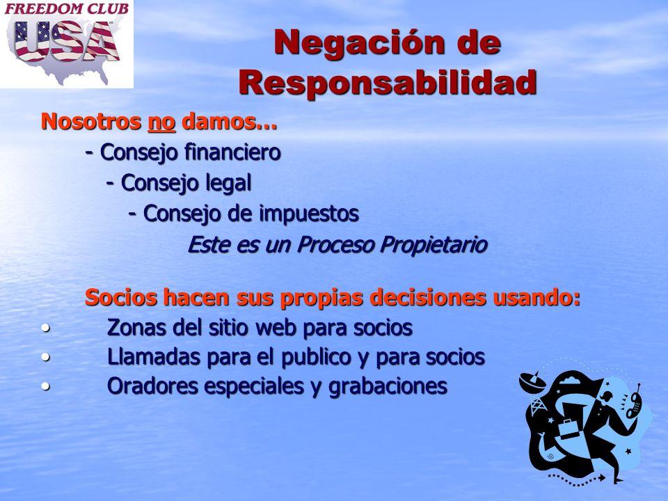 Negación de Responsabilidad Nosotros no damos… - Consejo financiero - Consejo legal - Consejo legal - Consejo de impuestos - Consejo de impuestos Este