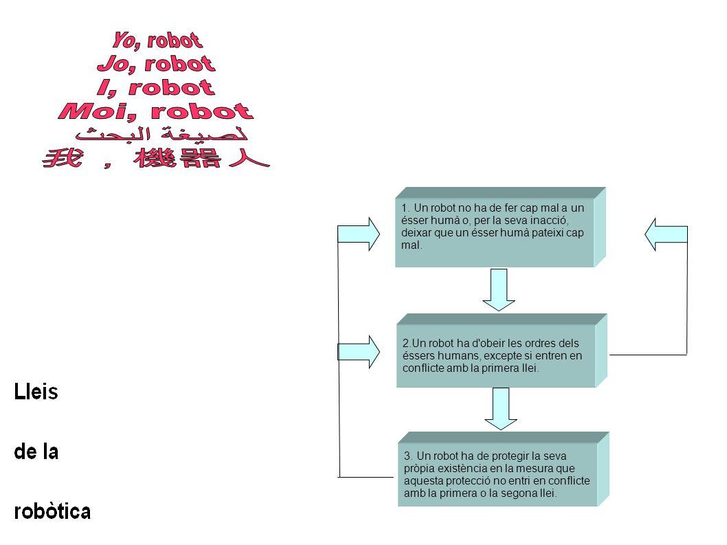 2.Un robot ha d'obeir les ordres dels éssers humans, excepte si entren en conflicte amb la primera llei. 3. Un robot ha de protegir la seva pròpia exi