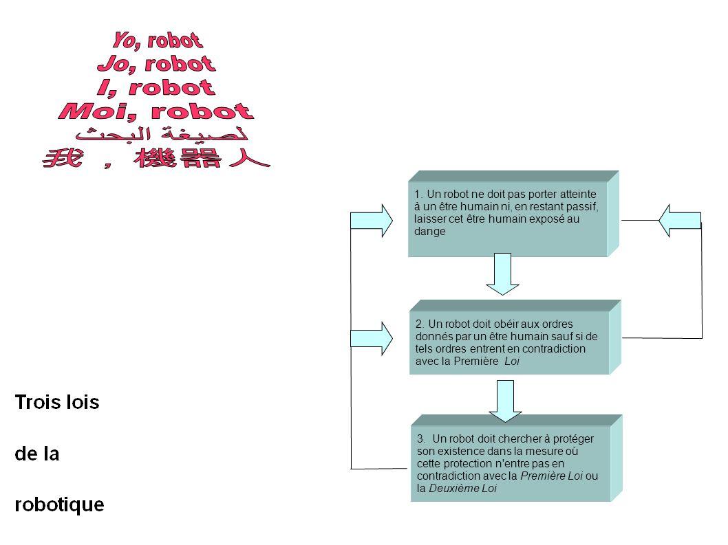 2. Un robot doit obéir aux ordres donnés par un être humain sauf si de tels ordres entrent en contradiction avec la Première Loi 3. Un robot doit cher