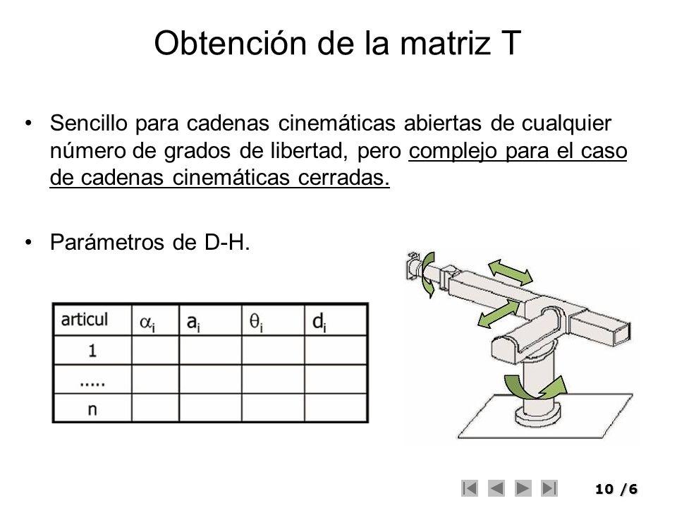 10/6 Obtención de la matriz T Sencillo para cadenas cinemáticas abiertas de cualquier número de grados de libertad, pero complejo para el caso de cade