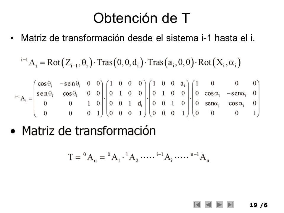 19/6 Obtención de T Matriz de transformación desde el sistema i-1 hasta el i.