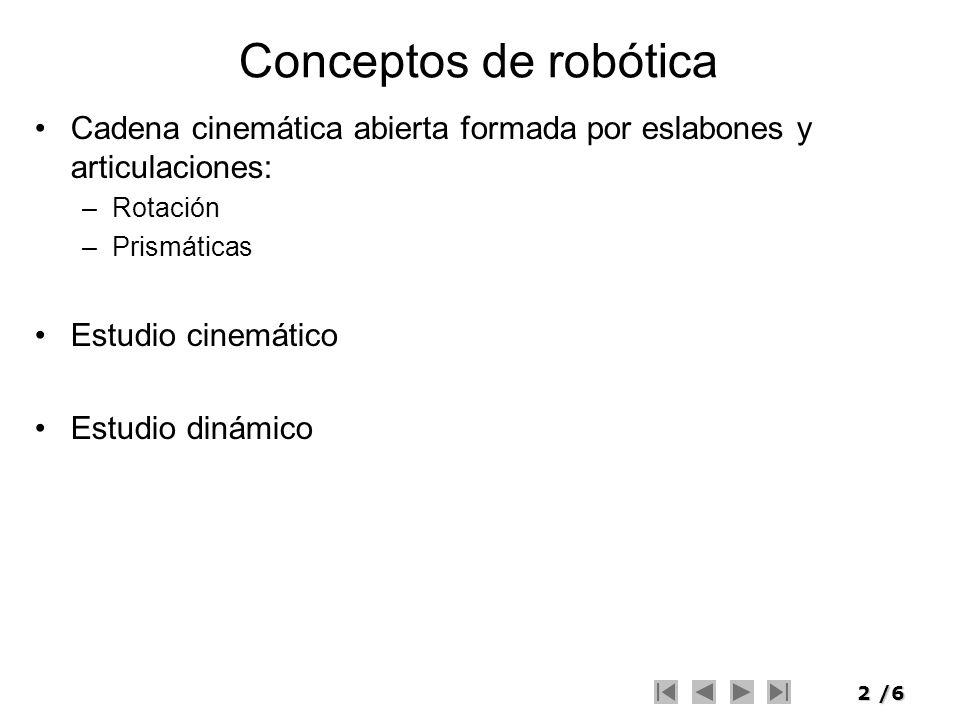 2/6 Conceptos de robótica Cadena cinemática abierta formada por eslabones y articulaciones: –Rotación –Prismáticas Estudio cinemático Estudio dinámico