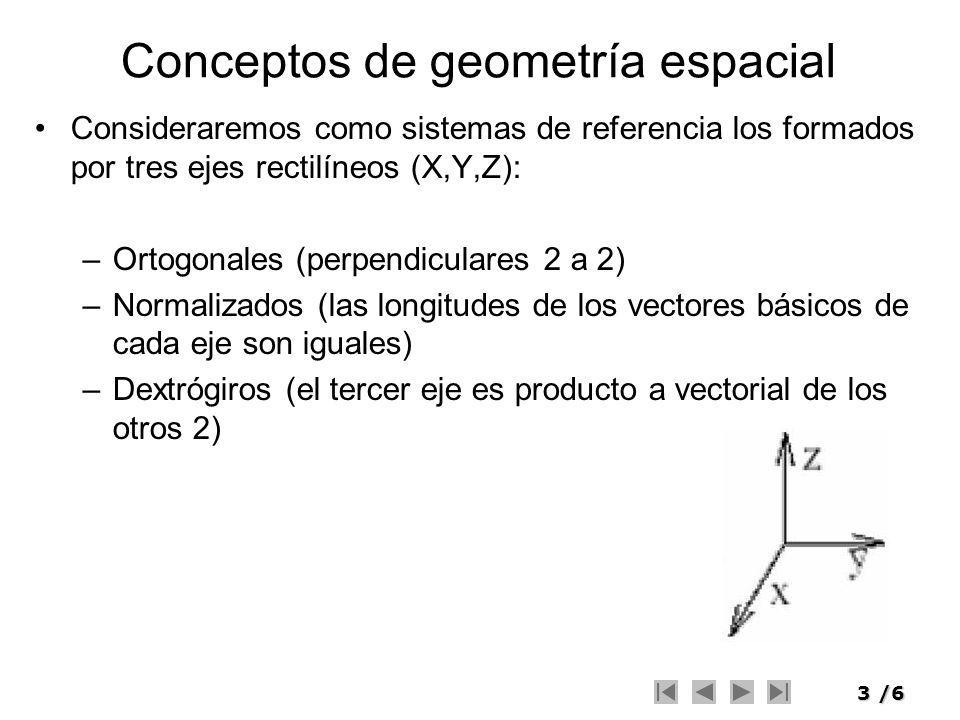 3/6 Conceptos de geometría espacial Consideraremos como sistemas de referencia los formados por tres ejes rectilíneos (X,Y,Z): –Ortogonales (perpendic