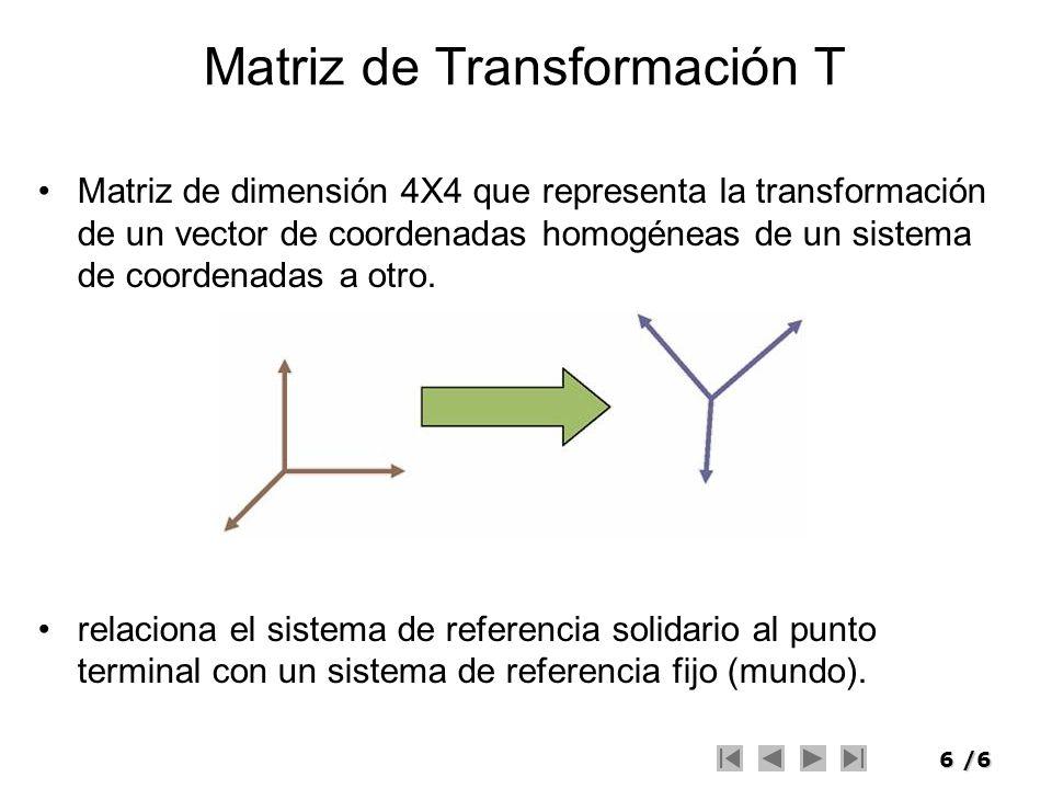 6/6 Matriz de Transformación T Matriz de dimensión 4X4 que representa la transformación de un vector de coordenadas homogéneas de un sistema de coorde