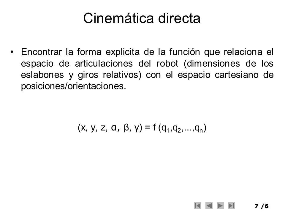 7/6 Cinemática directa Encontrar la forma explicita de la función que relaciona el espacio de articulaciones del robot (dimensiones de los eslabones y