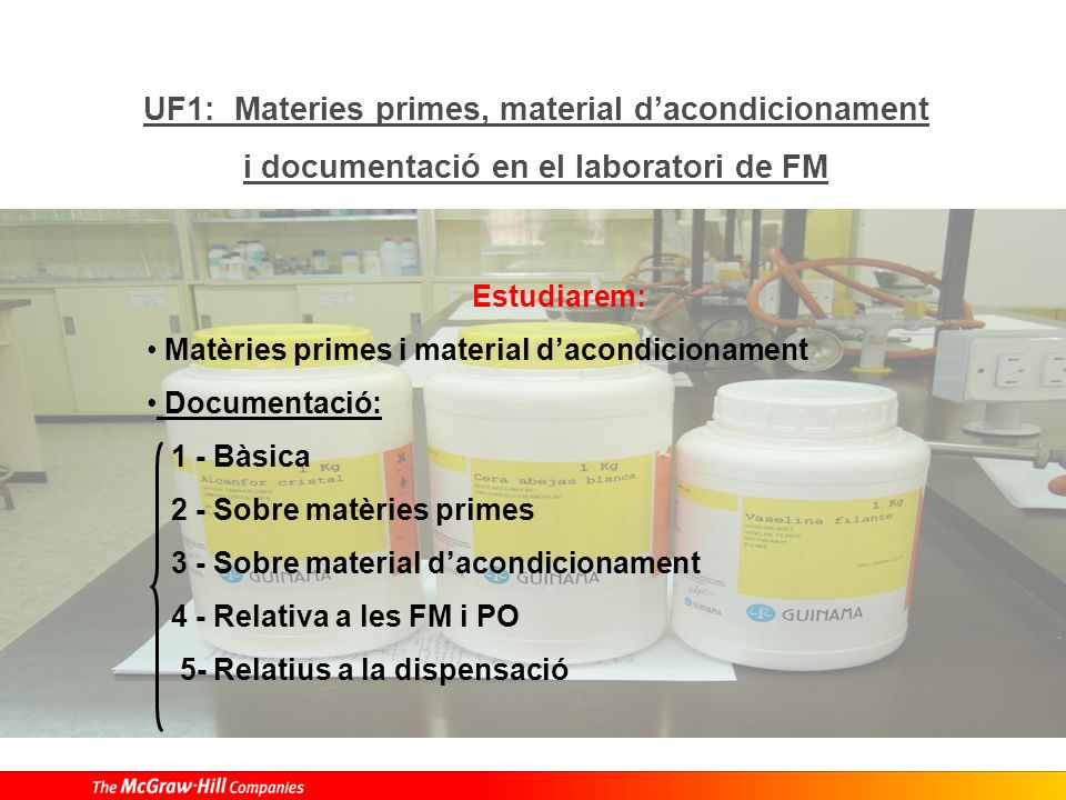 UF1: Materies primes, material dacondicionament i documentació en el laboratori de FM Estudiarem: Matèries primes i material dacondicionament Document