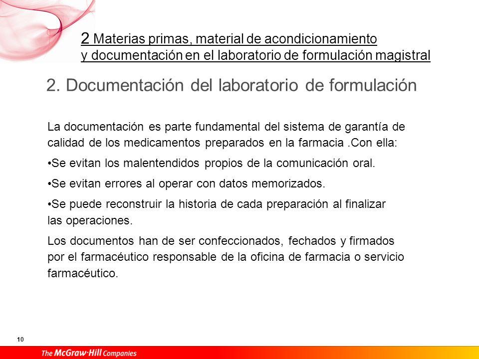 2 Materias primas, material de acondicionamiento y documentación en el laboratorio de formulación magistral 10 2. Documentación del laboratorio de for