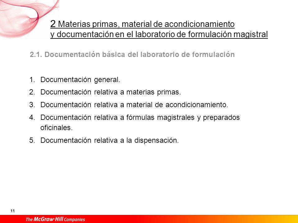 2 Materias primas, material de acondicionamiento y documentación en el laboratorio de formulación magistral 11 2.1. Documentación básica del laborator