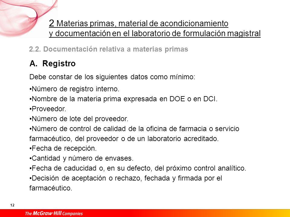 2 Materias primas, material de acondicionamiento y documentación en el laboratorio de formulación magistral 12 2.2. Documentación relativa a materias