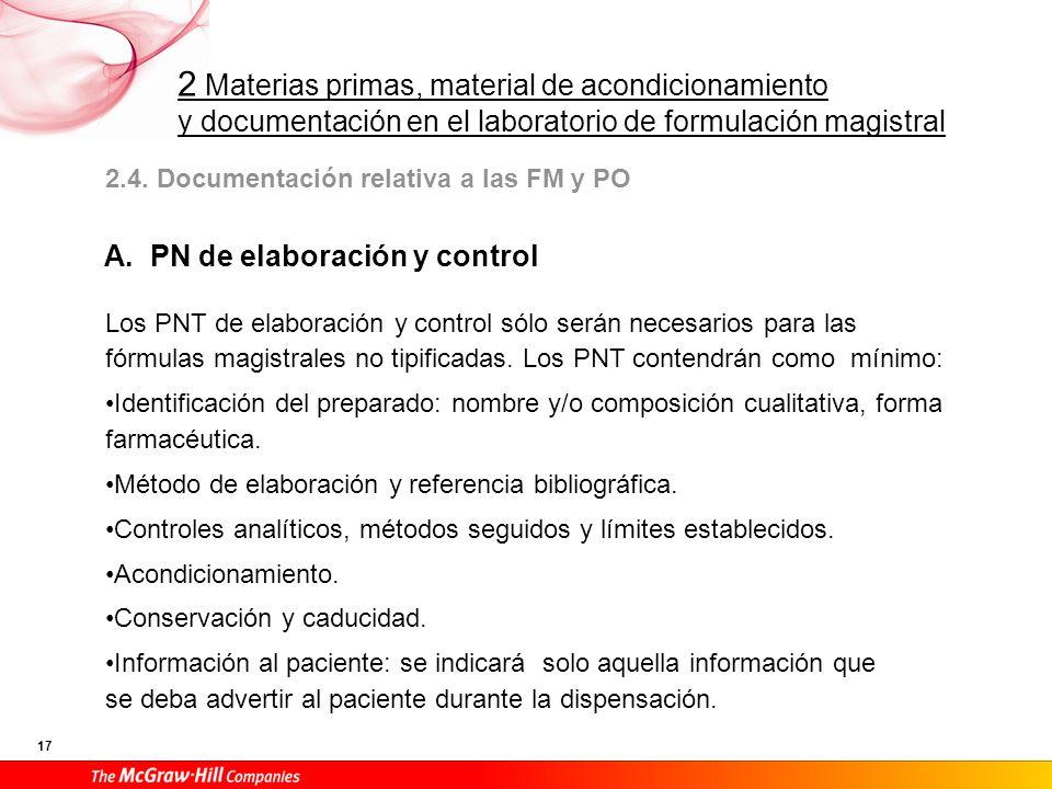 2 Materias primas, material de acondicionamiento y documentación en el laboratorio de formulación magistral 17 2.4. Documentación relativa a las FM y