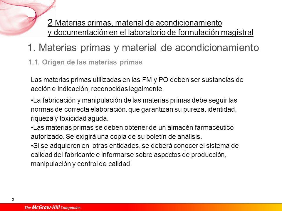 2 Materias primas, material de acondicionamiento y documentación en el laboratorio de formulación magistral 3 1. Materias primas y material de acondic