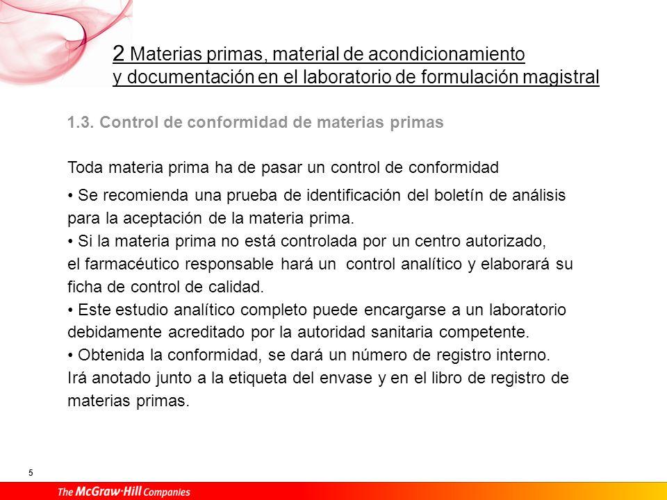 2 Materias primas, material de acondicionamiento y documentación en el laboratorio de formulación magistral 5 1.3. Control de conformidad de materias