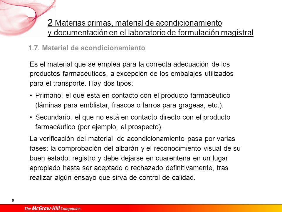 2 Materias primas, material de acondicionamiento y documentación en el laboratorio de formulación magistral 9 1.7. Material de acondicionamiento Es el