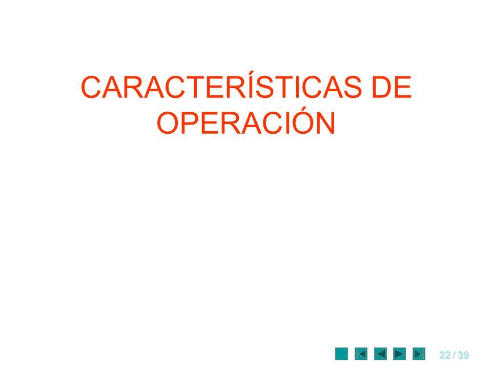 22 / 39 CARACTERÍSTICAS DE OPERACIÓN