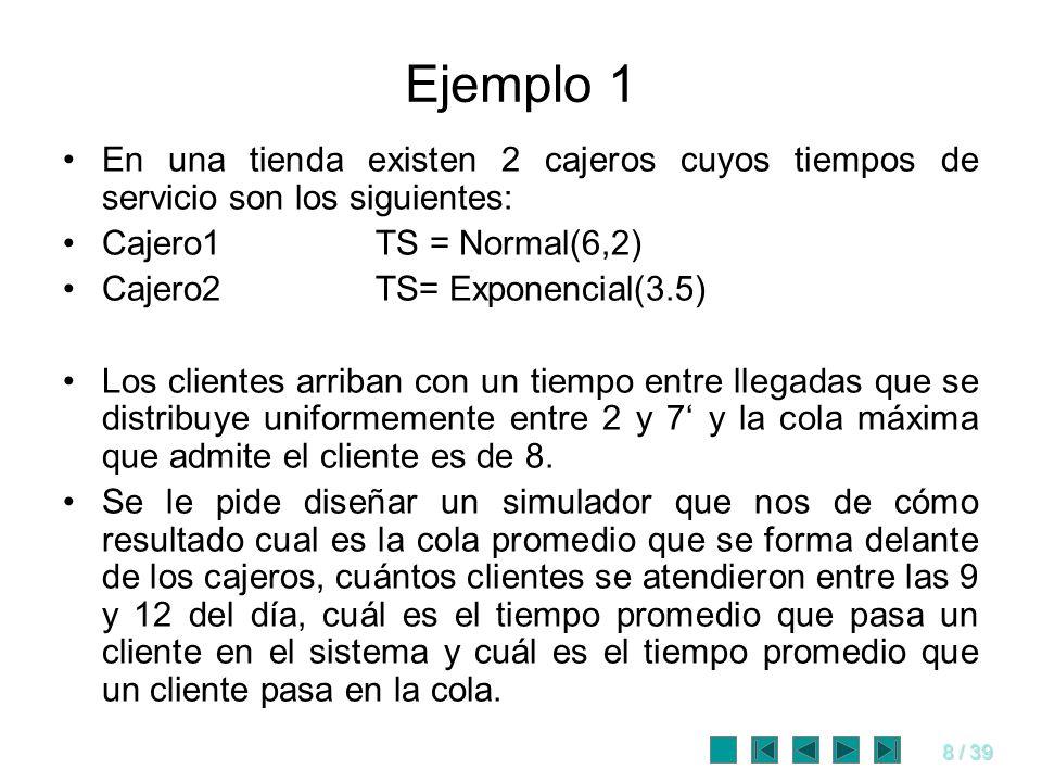 8 / 39 Ejemplo 1 En una tienda existen 2 cajeros cuyos tiempos de servicio son los siguientes: Cajero1TS = Normal(6,2) Cajero2TS= Exponencial(3.5) Los