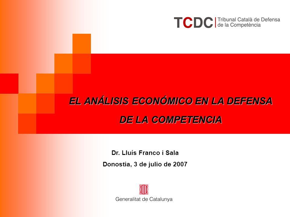 EL ANÁLISIS ECONÓMICO EN LA DEFENSA DE LA COMPETENCIA Dr.
