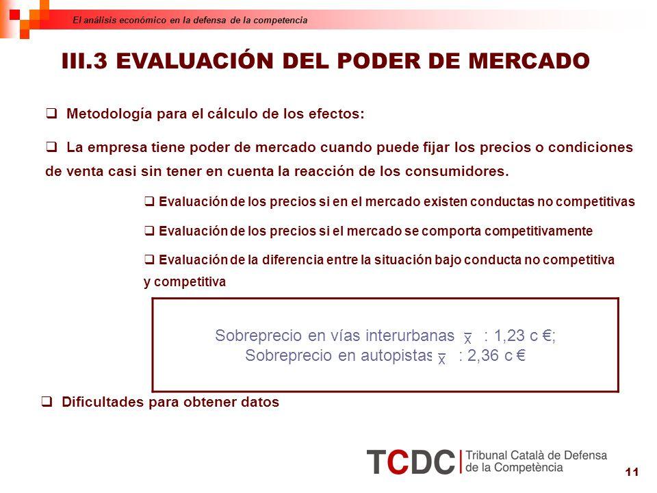 11 Dificultades para obtener datos III.3 EVALUACIÓN DEL PODER DE MERCADO Metodología para el cálculo de los efectos: La empresa tiene poder de mercado cuando puede fijar los precios o condiciones de venta casi sin tener en cuenta la reacción de los consumidores.