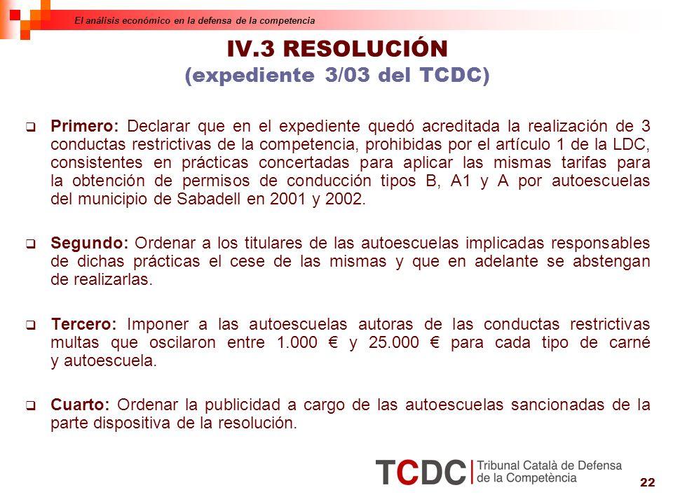 22 IV.3 RESOLUCIÓN (expediente 3/03 del TCDC) Primero: Declarar que en el expediente quedó acreditada la realización de 3 conductas restrictivas de la competencia, prohibidas por el artículo 1 de la LDC, consistentes en prácticas concertadas para aplicar las mismas tarifas para la obtención de permisos de conducción tipos B, A1 y A por autoescuelas del municipio de Sabadell en 2001 y 2002.