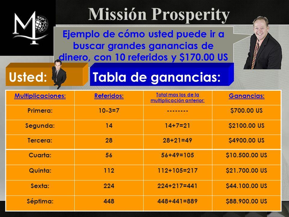 Missión Prosperity Ejemplo de cómo usted puede ir a buscar grandes ganancias de dinero, con 10 referidos y $170.00 US Usted:Tabla de ganancias: Multip