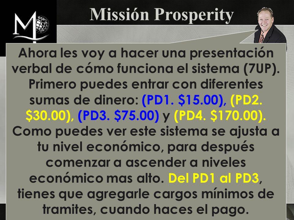 Ahora les voy a hacer una presentación verbal de cómo funciona el sistema (7UP). Primero puedes entrar con diferentes sumas de dinero: (PD1. $15.00),