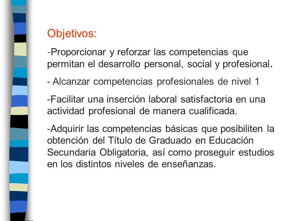 Objetivos: - Proporcionar y reforzar las competencias que permitan el desarrollo personal, social y profesional. - Alcanzar competencias profesionales
