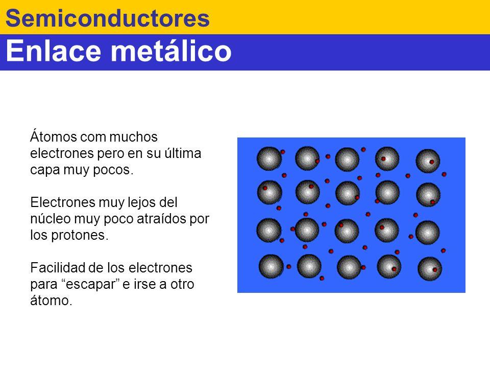 Enlace metálico Semiconductores Átomos com muchos electrones pero en su última capa muy pocos. Electrones muy lejos del núcleo muy poco atraídos por l