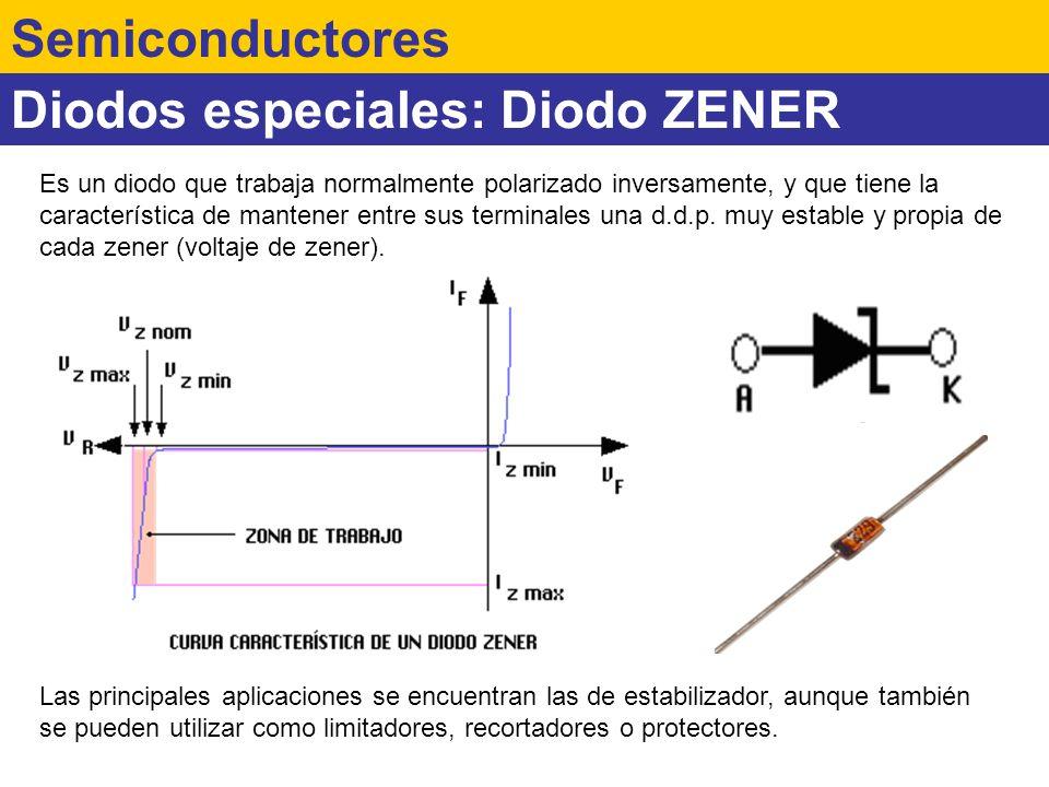 Diodos especiales: Diodo ZENER Semiconductores Las principales aplicaciones se encuentran las de estabilizador, aunque también se pueden utilizar como