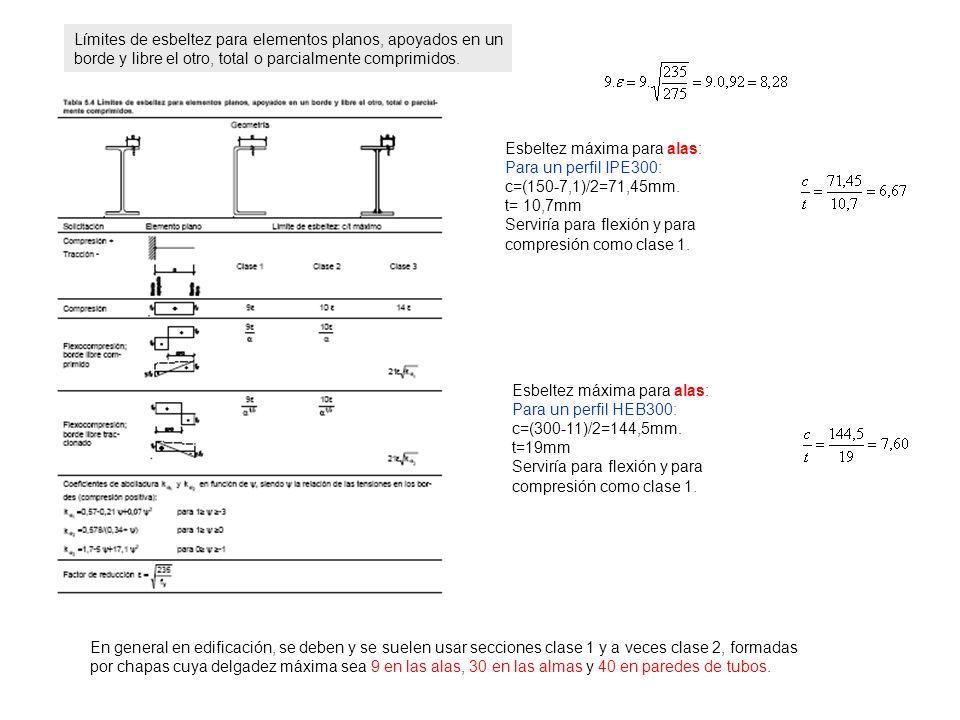 Esbeltez máxima para alas: Para un perfil IPE300: c=(150-7,1)/2=71,45mm. t= 10,7mm Serviría para flexión y para compresión como clase 1. Esbeltez máxi