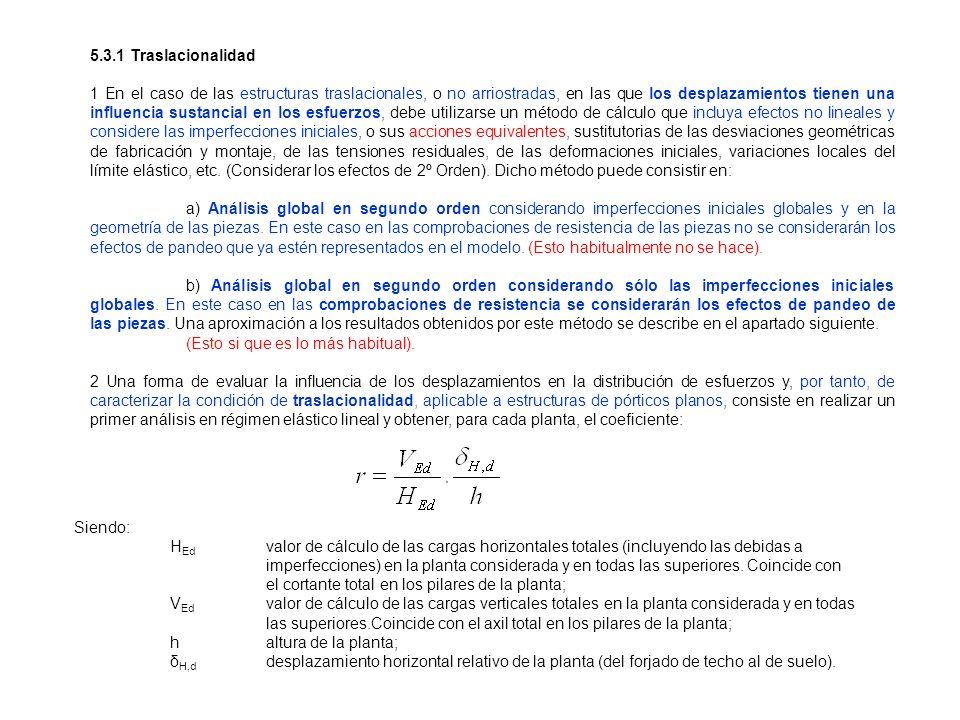 5.3.1 Traslacionalidad 1 En el caso de las estructuras traslacionales, o no arriostradas, en las que los desplazamientos tienen una influencia sustanc
