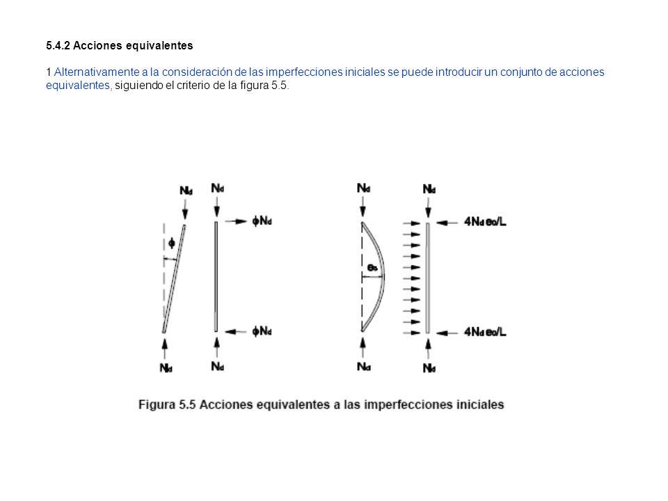 5.4.2 Acciones equivalentes 1 Alternativamente a la consideración de las imperfecciones iniciales se puede introducir un conjunto de acciones equivale