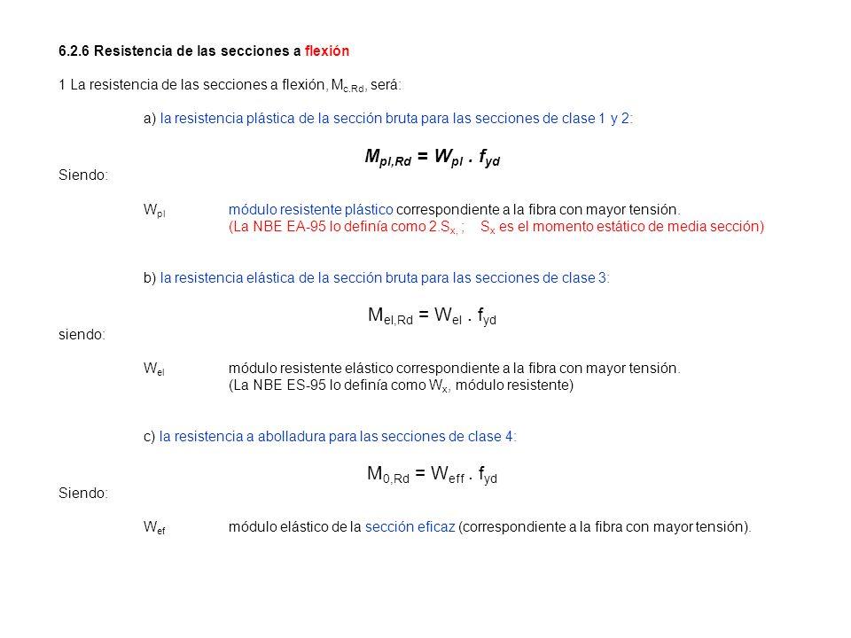 6.2.6 Resistencia de las secciones a flexión 1 La resistencia de las secciones a flexión, M c.Rd, será: a) la resistencia plástica de la sección bruta