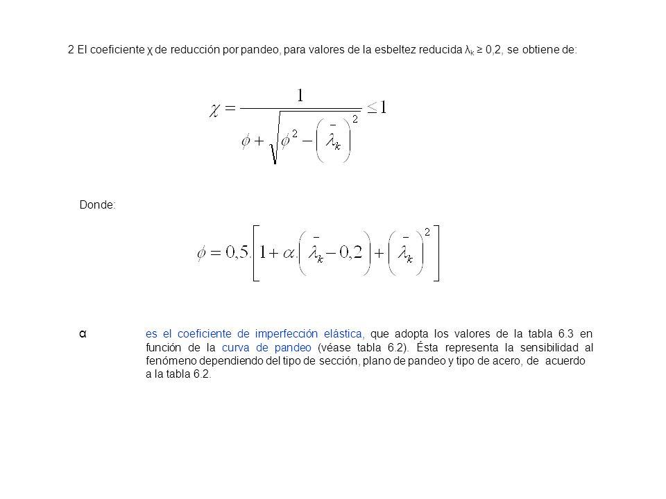 2 El coeficiente χ de reducción por pandeo, para valores de la esbeltez reducida λ k 0,2, se obtiene de: Donde: α es el coeficiente de imperfección el