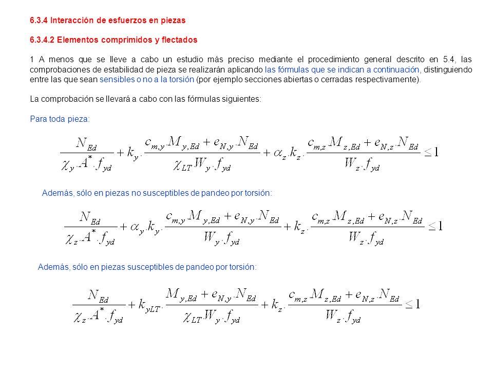 6.3.4 Interacción de esfuerzos en piezas 6.3.4.2 Elementos comprimidos y flectados 1 A menos que se lleve a cabo un estudio más preciso mediante el pr