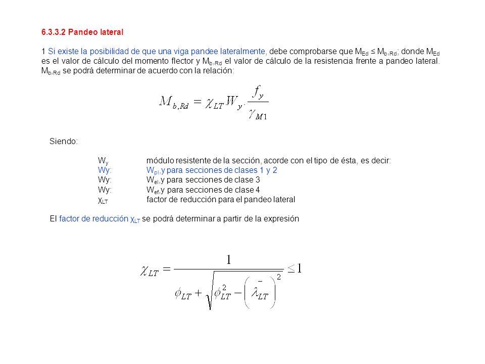 6.3.3.2 Pandeo lateral 1 Si existe la posibilidad de que una viga pandee lateralmente, debe comprobarse que M Ed M b, Rd ; donde M Ed es el valor de c