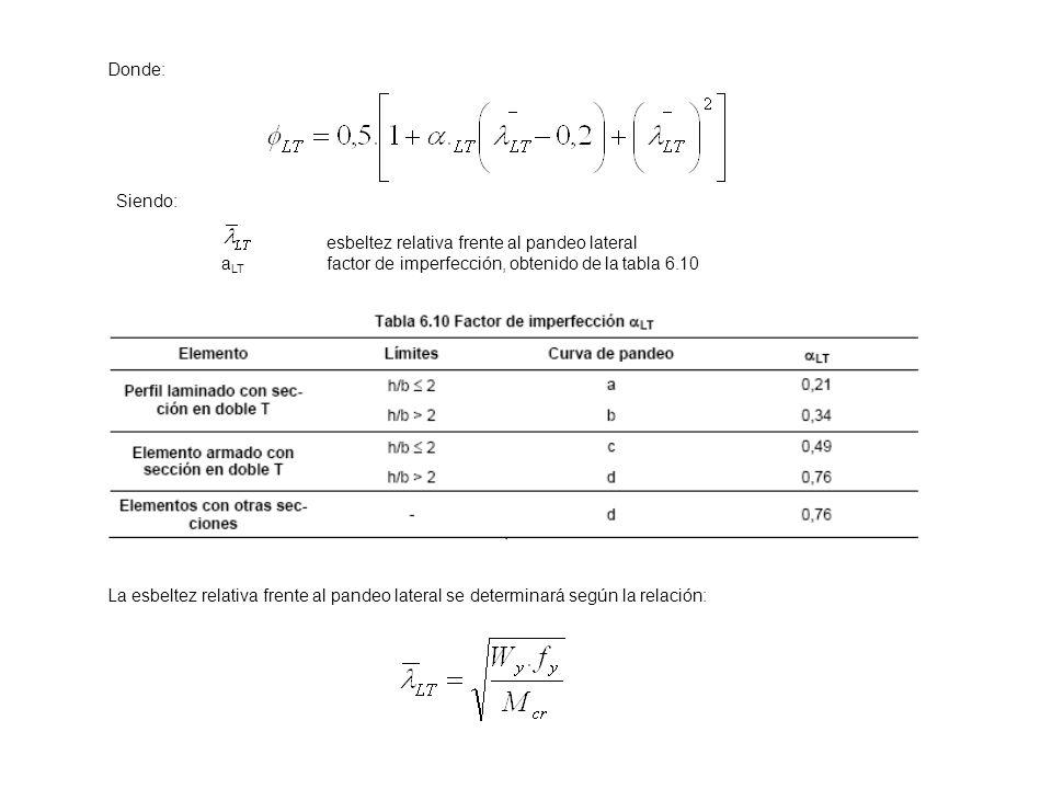 Donde: Siendo: esbeltez relativa frente al pandeo lateral a LT factor de imperfección, obtenido de la tabla 6.10 La esbeltez relativa frente al pandeo