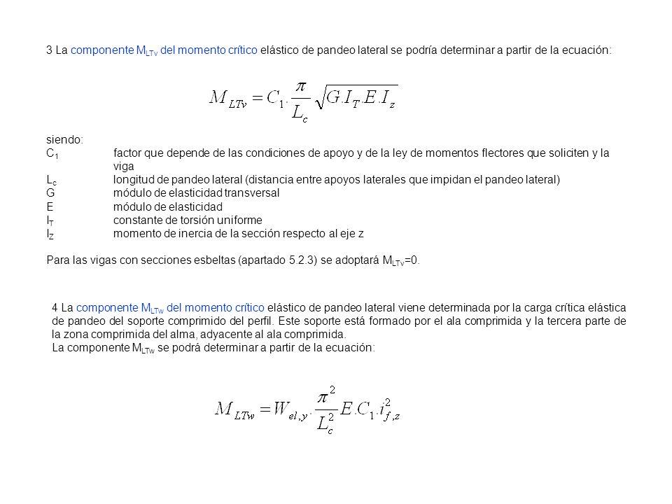 3 La componente M LTv del momento crítico elástico de pandeo lateral se podría determinar a partir de la ecuación: siendo: C 1 factor que depende de l