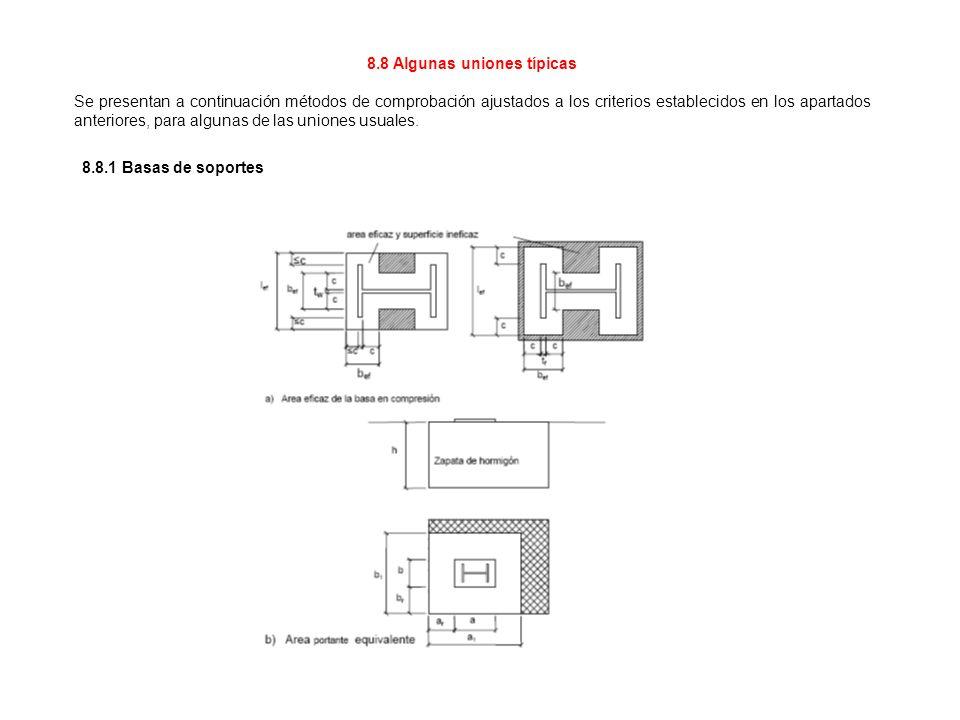 8.8 Algunas uniones típicas Se presentan a continuación métodos de comprobación ajustados a los criterios establecidos en los apartados anteriores, pa