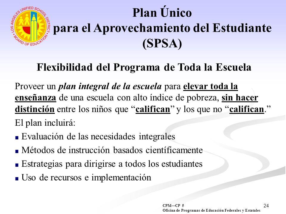 24 Plan Único para el Aprovechamiento del Estudiante (SPSA) Flexibilidad del Programa de Toda la Escuela Proveer un plan integral de la escuela para e