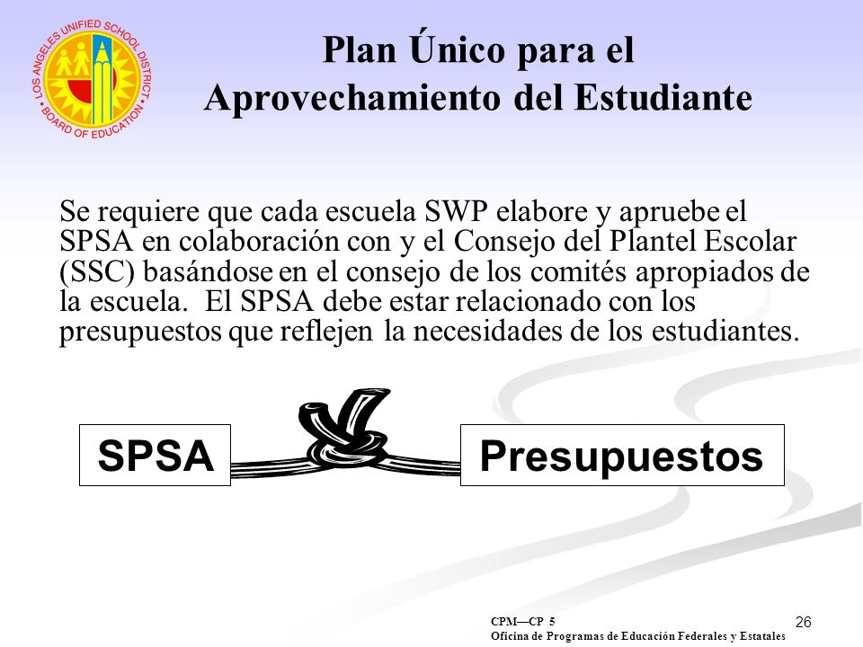 26 Se requiere que cada escuela SWP elabore y apruebe el SPSA en colaboración con y el Consejo del Plantel Escolar (SSC) basándose en el consejo de lo