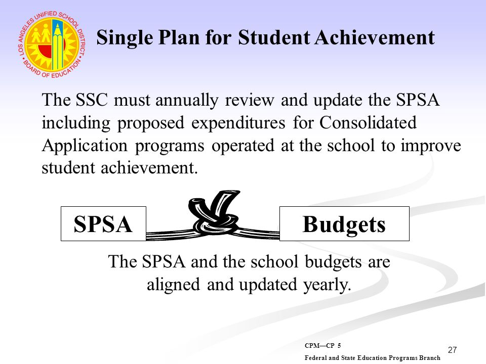 27 The SSC must annually review and update the SPSA including proposed expenditures for Consolidated Application programs operated at the school to im