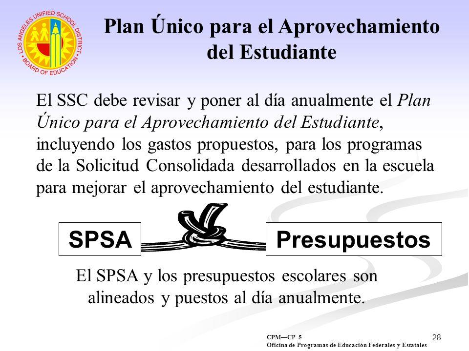 28 Plan Único para el Aprovechamiento del Estudiante El SSC debe revisar y poner al día anualmente el Plan Único para el Aprovechamiento del Estudiant